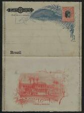 BRAZIL 1900 TRI COLOR LETTER CARD 100R WITH ETCHED VIEW OF CASA OF MOEDA UNUSED