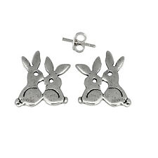 Rabbits Bunny Pin Earring Sterling Silver .925 Butterfly Fastening | Made in USA