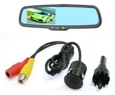 Rear view mirror w/ 4.3 LCD monitor & Flush Mount Waterproof Backup Camera Combo