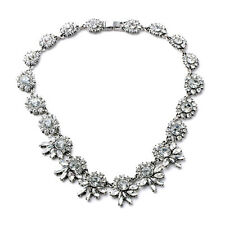 N987 Forever 21 Royal Sparkling Clear Gemstone Crystal Prom Queen Necklace UK