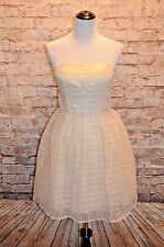 Modcloth Minuet strapless Party dress cream/champagne NWT  M striped sheen mesh