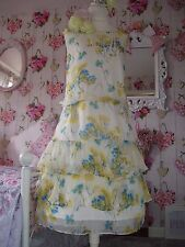 Monsoon beautiful size 20 ivory yellow floral layered silk summer dress