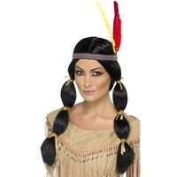 Womens Native American Indian Wig Long Black Hair Feather Headband Adult Costume