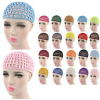 Womens Summer Mesh Hair Net Crochet Cap Snood Sleeping Night Cover Turban Hat UK