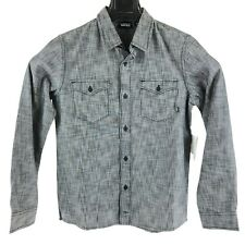 New Vans Boys Youth Medium Gray Long Sleeve Button Up Pocket Front Shirt NWT