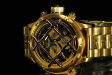 52MM Invicta Russian Diver NAUTILUS Quartz Chronograph Blue Dial Gold Tone Watch