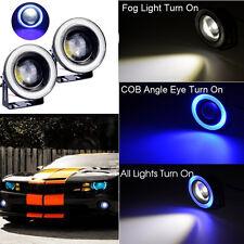 "2x 10W High Power 3.5"" Projector LED Fog Light COB Blue Angel Eyes For FORD"