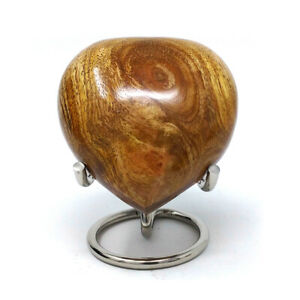 Beautiful Small Wooden Polished Heart Keepsake Urn For Ashes UK