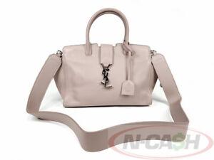BIDONLY! AUTH $2200 YVES SAINT LAURENT Antique Rose Sac Monogram Cabas Bag