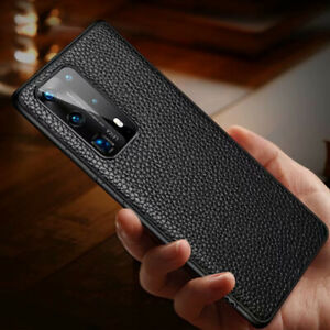 Classic Litchi Genuine Leather Back Case Cover For Huawei P40 Mate 40 20 X Pro