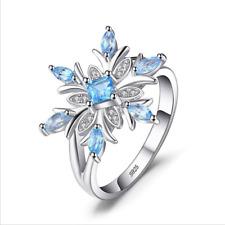 Christmas 925 Silver Aquamarine Crystal Snowflake Rings Flower Wedding Jewelry