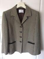 Ladies Houndstooth Brown Beige Blazer Formal Casual [Gold By Michael H] UK 16