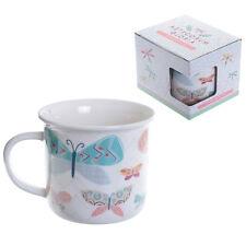 Butterfly Enamel Style New Bone China Mug Tea Coffee Gift Desk Office Present