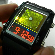 Men Silicone Rubber Digital LED Sport Quartz Wrist Watch Green&Yellow Flash