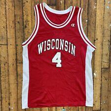 Vintage Champion Sam Okey #4 Wisconsin Badgers Ncaa Basketball Jersey