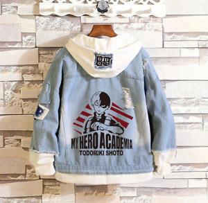 Cosplay My Hero Academia Hoodie Todoroki Shouto denim jacket Winter Sweatshirt