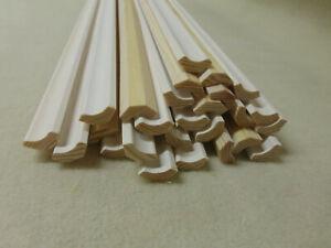 (a73)  25Stk 100cm B-Ware Hohlkehlleiste weiß lackiert 14x14mm Holzleisten