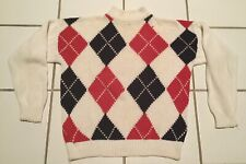 VIntage Robert Stock Cotton Argyle Mock Turtle Sweater- Red, White, Black Size M