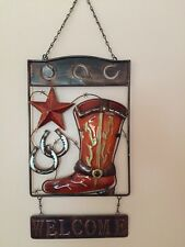 3D Rustic Western Welcome Metal Wall Art Decor Cowboy Boot Horseshoe Star