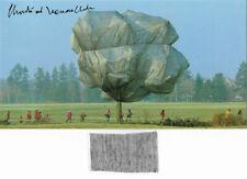 Christo XXL card 23 x 13 cm Trees hand signed + fabric ca 6 x 3 cm selten!