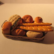Assortment of bread in a basket ~ Dollhouse miniature food ~ 12th scale