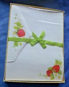 Letter Writer Stationery Drawing Board Strawberry Berries Sheets Envelopes