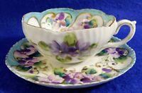 Antique/Vtg Hand Painted PURPLE Lavender Flowers Porcelain Tea Cup & Saucer Set