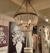 CREATIVE COOP FRENCH FARMHOUSE BEADED WOOD VINTAGE STYLE WHITE CHANDELIER