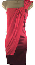 Karen Millen Red Silk Drape Cocktail Evening Party Pencil Dress UK 14