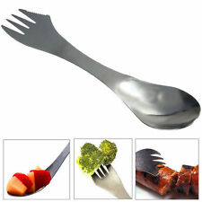 100X Outdoor Metal Spork Picnic Camping Wild Cutlery Lunch Box Fork Spoon F02