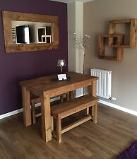 RUSTIC CHUNKY PLANK DINING TABLE and 2 BENCHES SET SOLID WOOD **package price**