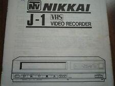 Vintage NTV NIKKAI J-1 VCR VHS Video cassette tape deck user instruction manual