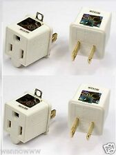 2 Prong to 3 Prong AC Power Outlet Grounding Adapter tap plug UL grounded 4pcs