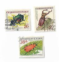 Czechoslovakia postage stamps x 3, 1962 Beetles