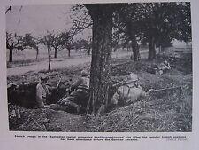 1918 WWI WW1 PRINT FRENCH TROOPS MONTDIDIER REGION TRENCH SYSTEMS GERMAN ADVANCE