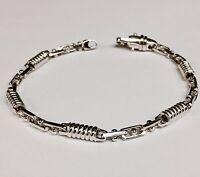 "10kt Solid White Gold Handmade Fashion Link Men's Bracelet 8.5""  5 MM  15 grams"
