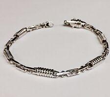 """10kt Solid White Gold Handmade Link Men's Bracelet 8.5""""  5 MM  15 grams"""