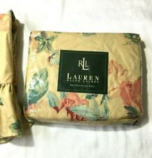 VTG Ralph Lauren Grassland Floral Cream TWIN Fitted Sheet & 2 Ruffled Curtains