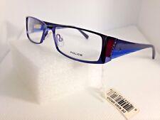 Police VK504 Blue Rectangular Eyeglasses Frames 50-15-125 Italy Store Model