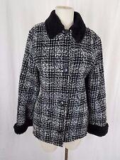 Simon Chang Boucle Woven Tweed Plaid Vegan Faux Pile Fur Lined Jacket Womens 7 8