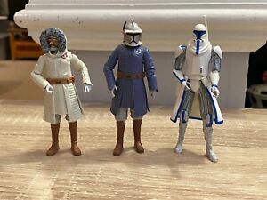 Star Wars Clone Wars 3.75 Inch Figures Lot Captain Rex Obi Wan Snow Suit Hasbro