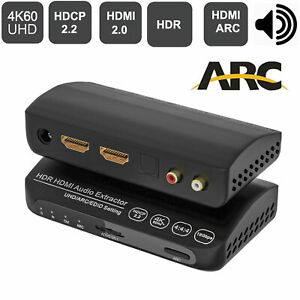 4K HDMI 2.0 Audio Extractor HDR ARC 5.1CH Converter Splitter Switcher Toslink