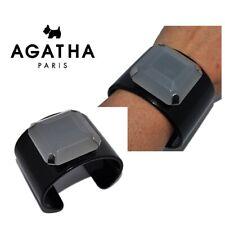 AGATHA PARIS Bracelet manchette large en résine noir et grise bijou