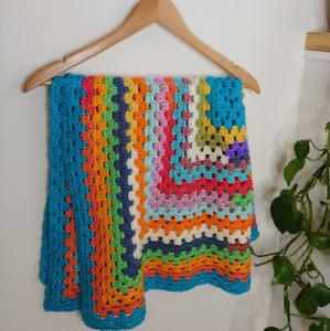 Bundle of 3 Rainbow Crochet Baby / Lap Blanket
