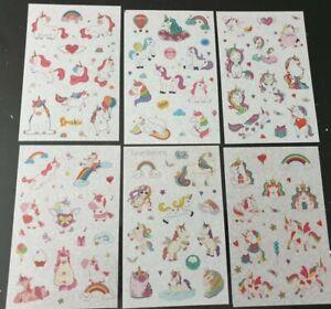 6 x Different sheets of UNICORN Theme Sticker  Stickers Craft Scrapbook Cute