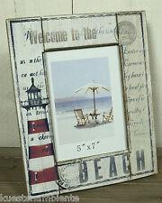 """Maritimer Bilderrahmen aus Holz """"Beach"""" Leuchtturm Motiv f. Fotos 12,5 x 17,5 cm"""