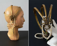 Vintage 1920's Egyptian Revival Brass Headpiece w/ Pearl Beads and Green Jewels