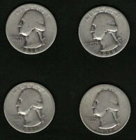Lot of 4 US Silver Washing Quarters Coins 1935, 1936, and 2 1939  FREE Shipping