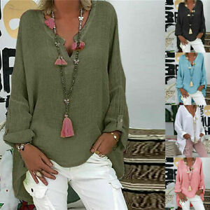 UK Women Summer Long Sleeve Baggy Tops Ladies Cotton linen T-shirt Blouse Plus