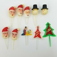 Vintage Lot of 10 Plastic Christmas Santa Cake Decorations Cupcake Toppers Picks